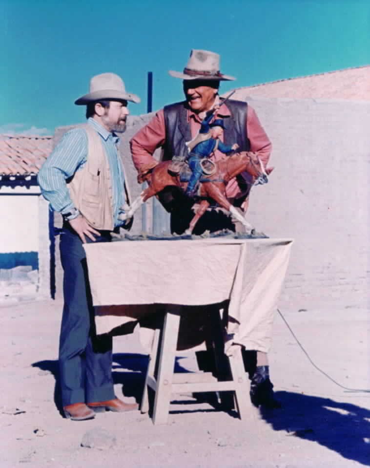 Harry Jackson with John Wayne in Durango Mexico in 1970 with the Marshal Painted Sculpture