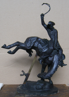 Bronc Stomper III, finished but never cast model for reduction of Bronc Stomper sculpture. 12.75 H x 9 L x 4.5 W inches.