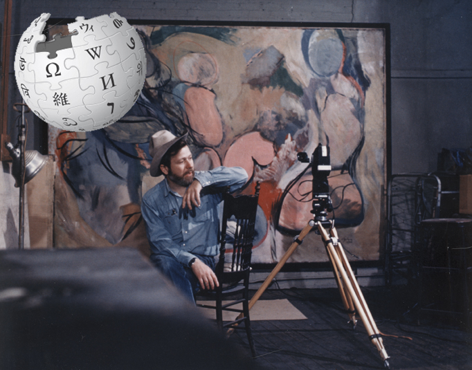 Wikipedia logo and HJ and Family Painting in NY studio